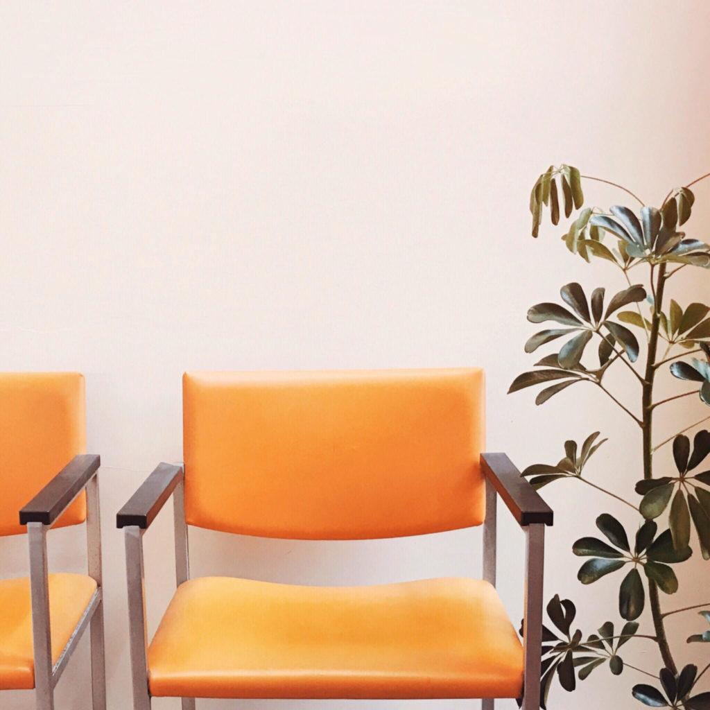 Trendy retro orange chair