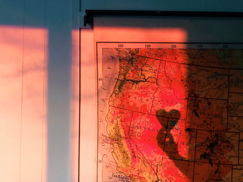 Roll down school map and pink sunset